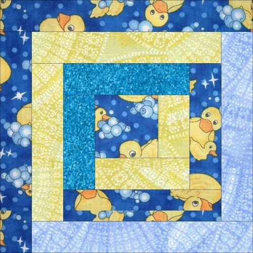 Paper Piecing Quilt Patterns Log Cabin : Twelve Rubber Ducky Log Cabin Paper Pieced Quilt Blocks Baby Quilt Kit