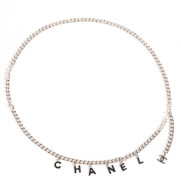 CHANEL CC Chain Letters Belt Silver ❤ liked on Polyvore featuring accessories, belts, silver belt, silver chain belt and chain belt