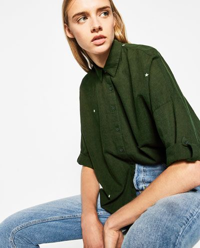 OVERSIZED EMBROIDERED SHIRT from Zara