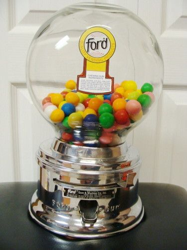 Vintage Original Ford 1 Cent Penny Gumball Machine with Glass Globe | eBay