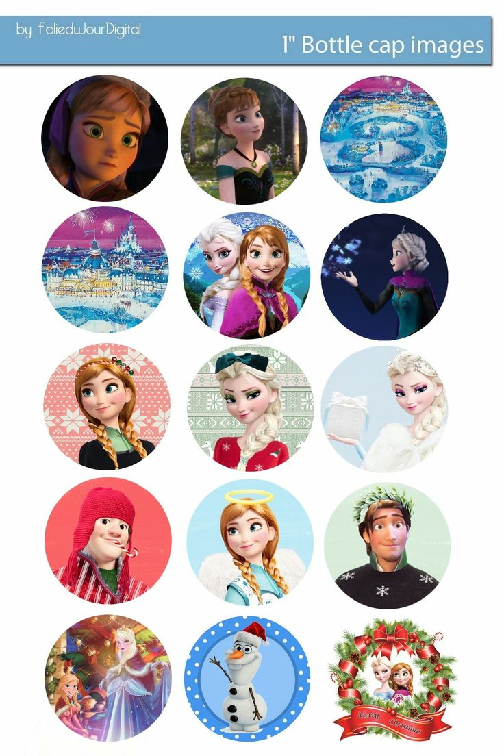 Folie du Jour Bottle Cap Images: NEW Christmas Frozen free digital bottle cap images 1""