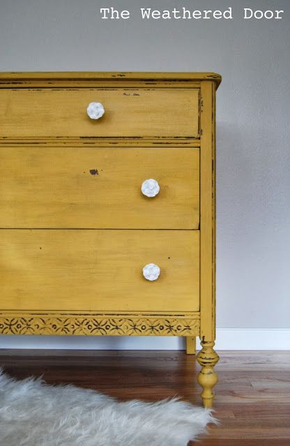 The Weathered Door: A chippy, mustard yellow dresser; I'm thinking I should have done the boys' dresser this color. Re-do??