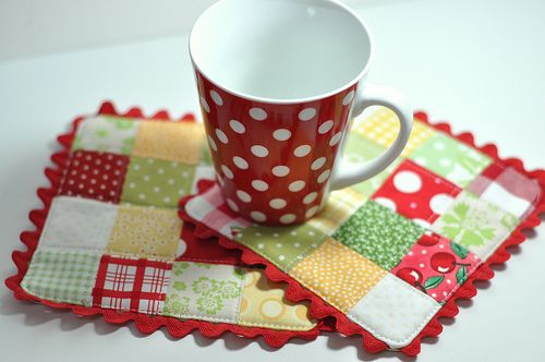 Square Mug Rugs with Ric Rac