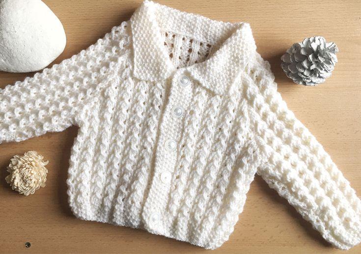 Baby Cardigan, Baby Boy Cardigan, Hand Knitted Cardigan, Baby Clothing, 6-9 Months Cardigan, Cream Cardigan, Hand knitted Baby Boy Cardigan by PreciousLittleStars on Etsy https://www.etsy.com/uk/listing/581331090/baby-cardigan-baby-boy-cardigan-hand