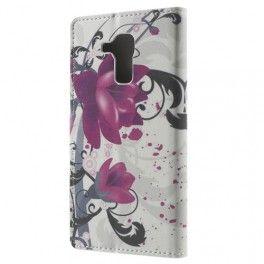 Huawei Honor 7 Lite violetit kukat puhelinlompakko