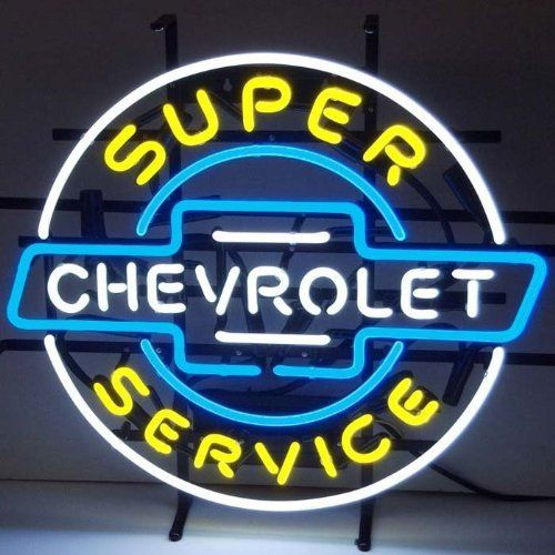 """Neon Signs: Super Chevy Service Neon Sign by Brookstone. $359.00. Size: 20""""H x 20""""W x 4""""D. Charming artwork!. Color: Multicolor. Neon style and flair!. Classic, traditional style!. Neon Signs: Super Chevy Service Neon Sign. Focused on bringing the fun and beauty of real neon into your home or business! This Super Chevy Service Neon Sign gives a colorful edge with real neon lights. The Super Chevy Service Neon Sign features multi-colored, hand blown neon tubing. Th..."""