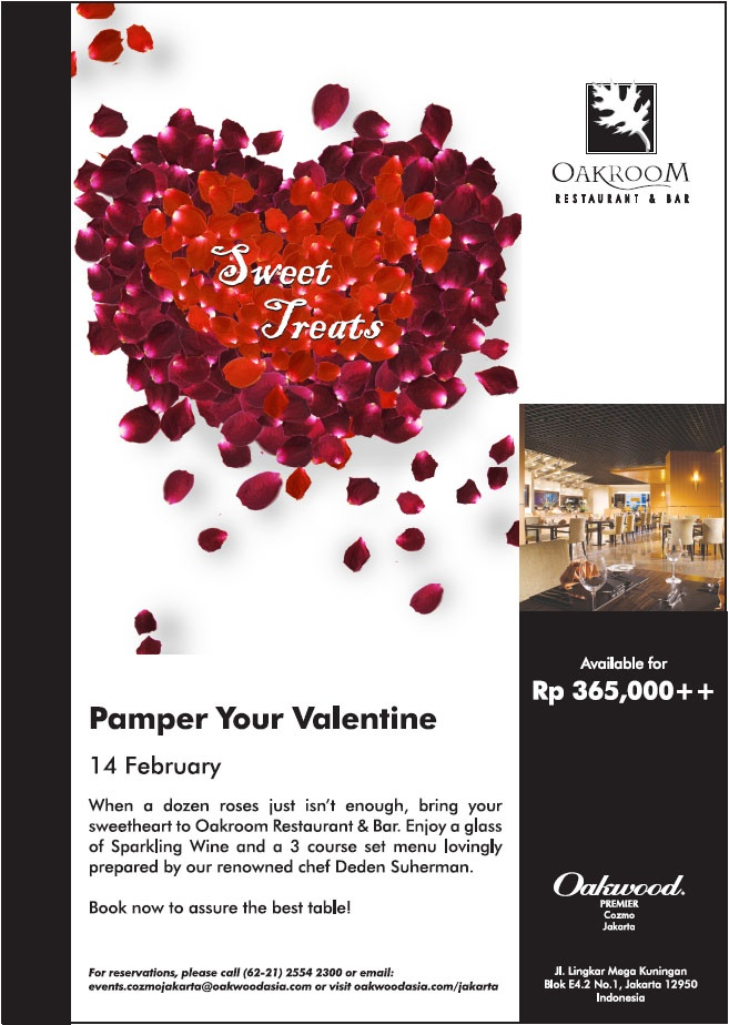 valentines day is just less than a month away treat your loved one to an intimate dinner this valentines day on 14th february 2013 at oakroom restaurant - Valentine Day Restaurant Promotions