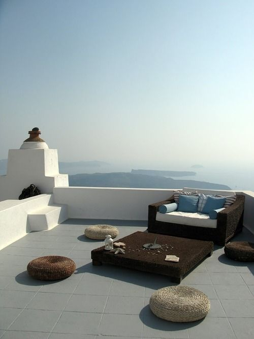 A Greek escape is what we all need, every once in a while.  But the supreme joy of being on a vacation like that must be having this amazing terrace to have your coffee, breakfast or an afternoon snack.  A dining place like no other, on an island away from everything and everyone. Our wishlist just got updated! ;)