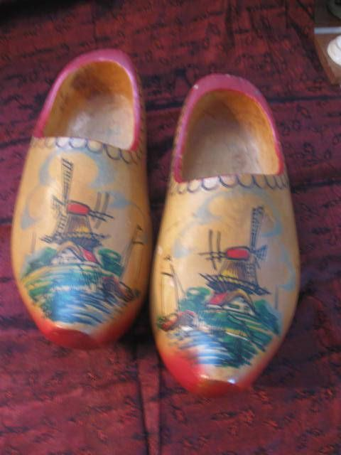 Vintage Dutch Wooden shoes Rustic Wooden Clogs Painted wooden