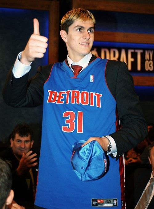 Darko Milicic would be selected #2 overall in the 2003 NBA Draft by the Pistons. He would come by way of the Grizzlies via a conditional 1st-rd pick in 1997 for Otis Thorpe. If Memphis received #1, the pick was theirs. Milicic, followed by then-ESPN columnist Chad Ford, would have have to apply to get in for 2003 because he didn't turn 18 until 6 days before the Draft. Milicic would never live up to the hype as the next Wilt. He would leave the Pistons in 2006, traded to Orlando for cap…