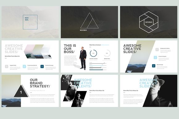 Novska - Modern Powerpoint Template by Grizzlide on @creativemarket