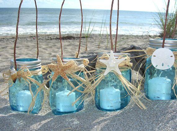 Starfish Mason Jar Lanterns SET of 4-Beach Wedding, Beach Home, Coastal Living, Mason Jars, Coastal Home Decor, Seashore, Blue Mason Jar