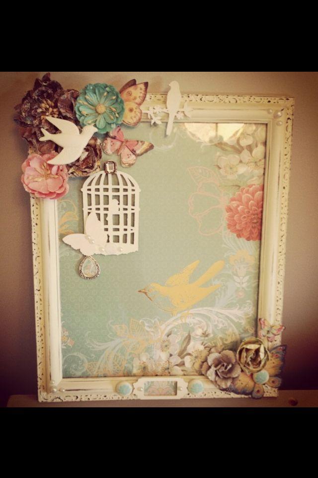 Shabby chic nursery decor altered vintage frame painted for Room decor embellishment art
