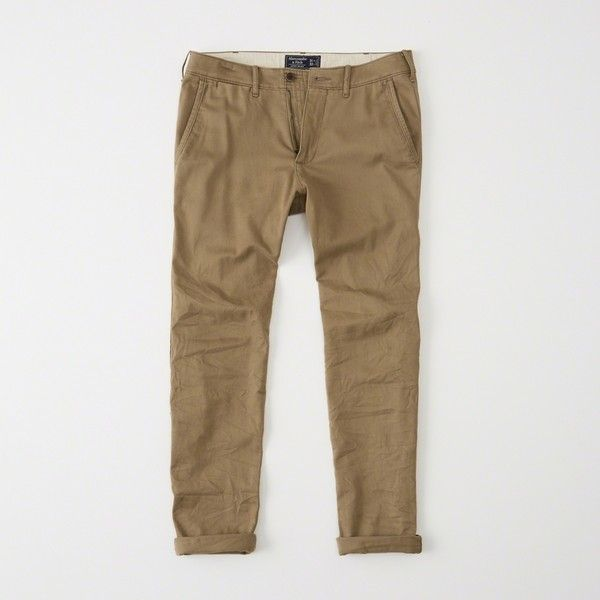 Abercrombie & Fitch Super Skinny Chino Pants ($49) ❤ liked on Polyvore featuring men's fashion, men's clothing, men's pants, men's casual pants, khaki, mens stretch khaki pants, mens skinny pants, mens khaki pants, mens skinny chino pants and mens skinny khaki pants