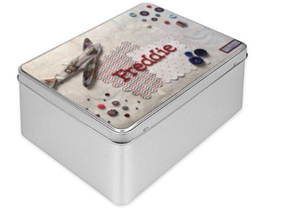 Freddie Treasure Gift Tin Box with Spitfire airplane