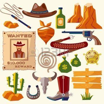 saloon western: Cow-boy ouest icônes plates sauvages établies avec le sac de l'argent des armes à feu chapeau isolé illustration vectorielle