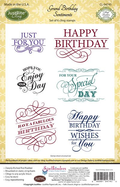 JustRite Papercrafts   cling stamps   Grand Birthday Sentiments  