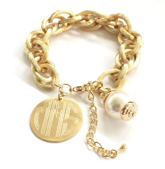 Monogram Charm Bracelet Engraved Pendant And Pearl In Brushed Silver Or Gold Personalized J Products 2018 Pinterest Bracelets