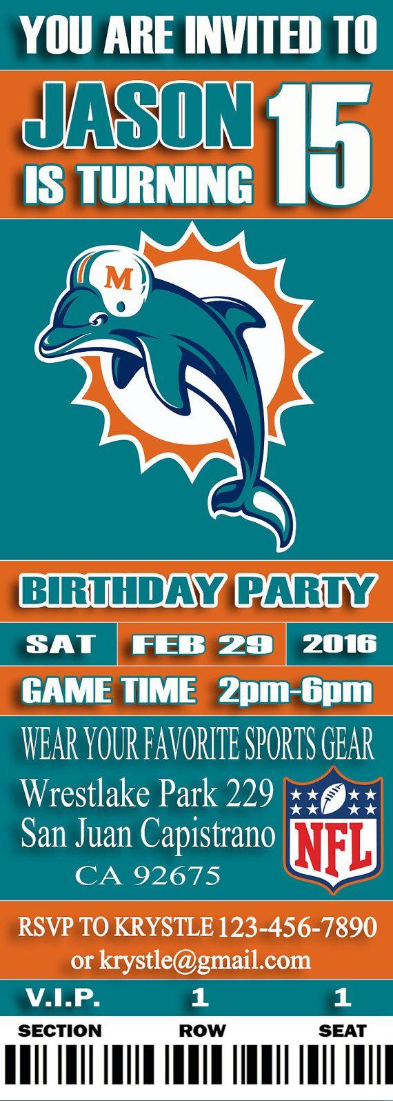 Miami Dolphins Birthday Ticket Invitation-Miami by SportfunDigital