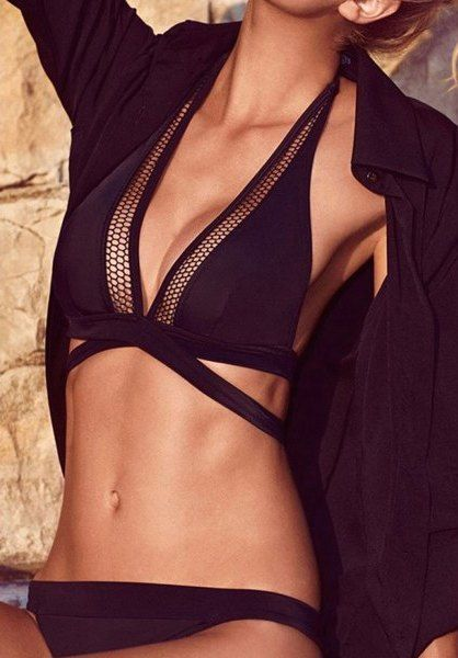 Sexy Solid Color Hollow Out Women's Bikini Set