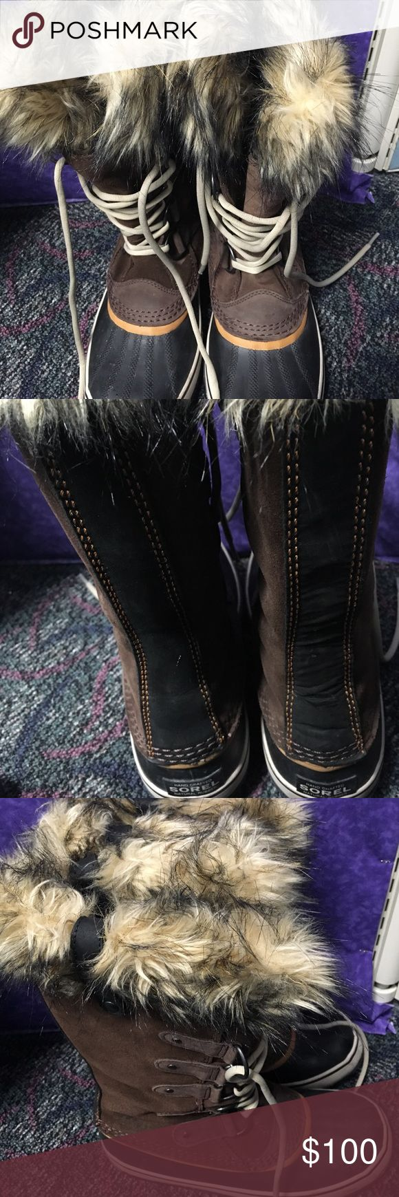 Sorel Joan of Arc boots Sorel boots, brown with black toes. In great condition, only worn 3 times. Sorel Shoes Winter & Rain Boots