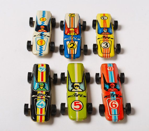 Set of 6 Vintage small metal toys tin sport car from by SkyLynx