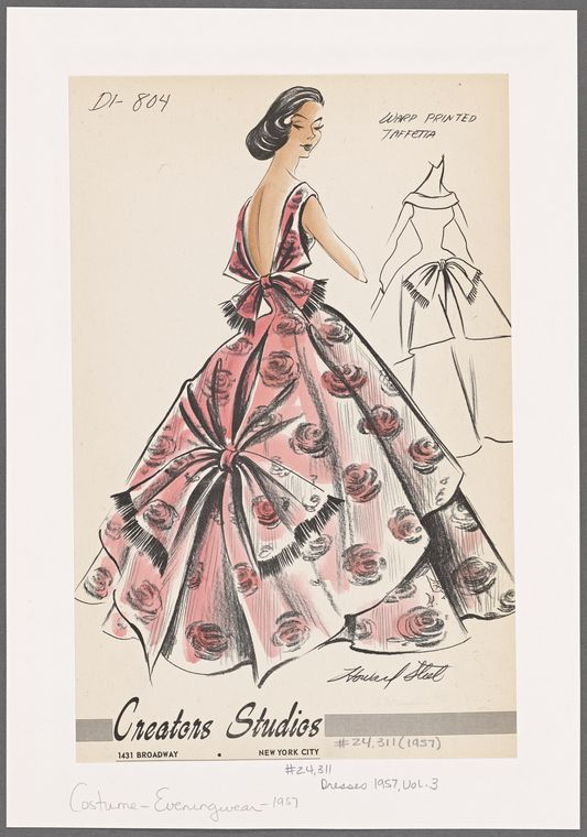 1950s evening wear fashion sketch - NYPL Digital Collections