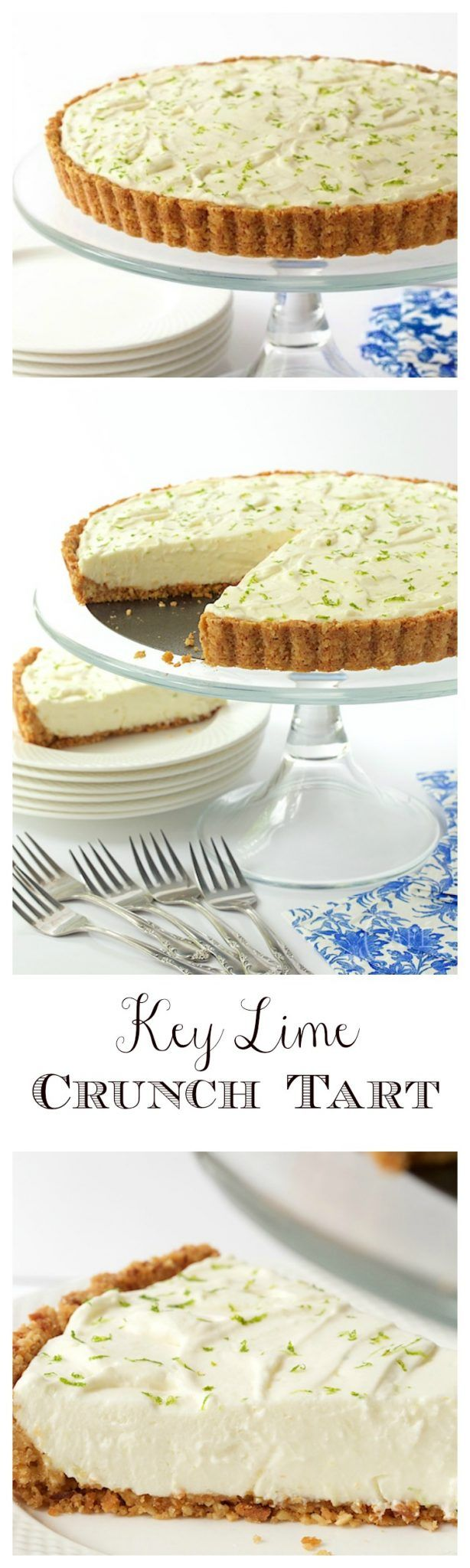Key Lime Crunch Tart - with a crunchy coconut-almond shortbread crust and a creamy, light key lime filling, this easy, make-ahead tart is ALWAYS a hit!