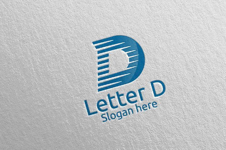 Digital Letter D Logo Design 10 Logo Design Lettering Letter D