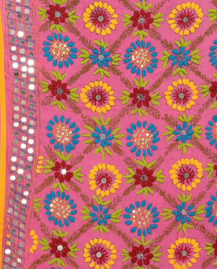 Magenta Wrap with Phulkari Embroidery