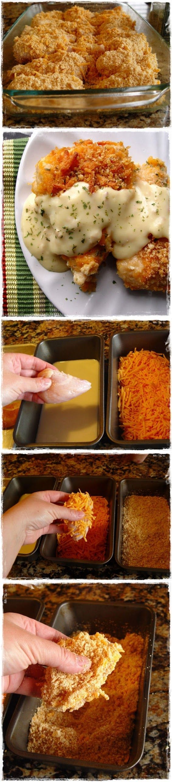 CRISPY CHEDDAR CHICKEN - with Ritz crackers/cheddar cheese crust and cream of chicken soup sauce. So good! Try it with cheeze itz too, even better!