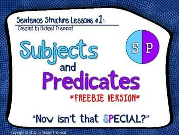"""Subjects and Predicates CAN be fun! This FREEBIE is a shortened version of my full powerpoint lesson: """"Sentence Structure Lessons #1: Subjects and Predicates."""" This file includes an introduction and modeled practice in identifying the subject and predicate of a sentence."""