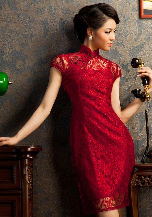 Red lace modern short qipao sexy Chinese cheongsam dress | www.ModernQipao.com