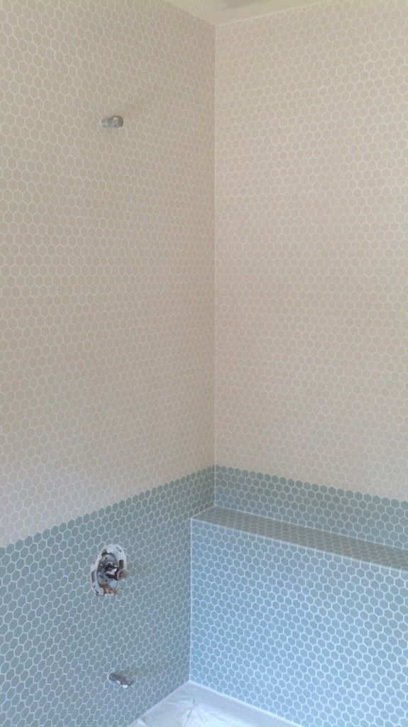 Blue 6x6 Tile Kids Bathroom With Mexican Tile Accent: Childrens Bathroom - Hex Tile Installation