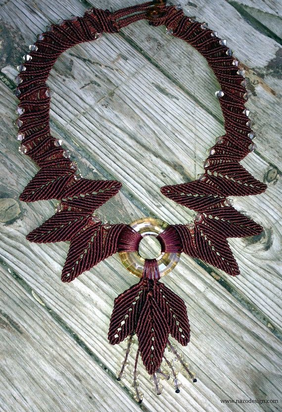 Macrame Necklace...  Copper Necklace.. Leaf by NazoDesign on Etsy, $60.00