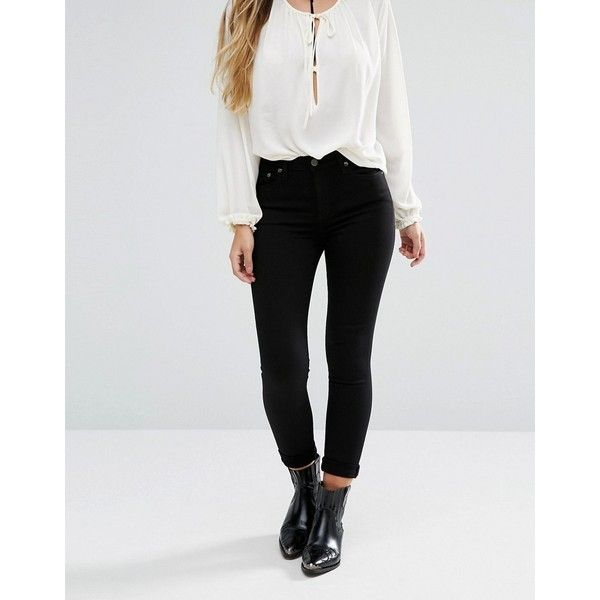 Lee Scarlett Cropped Skinny Jeans with Released Hem ($81) ❤ liked on Polyvore featuring jeans, black, cropped jeans, skinny leg jeans, skinny fit denim jeans, overalls skinny jeans and bib overalls