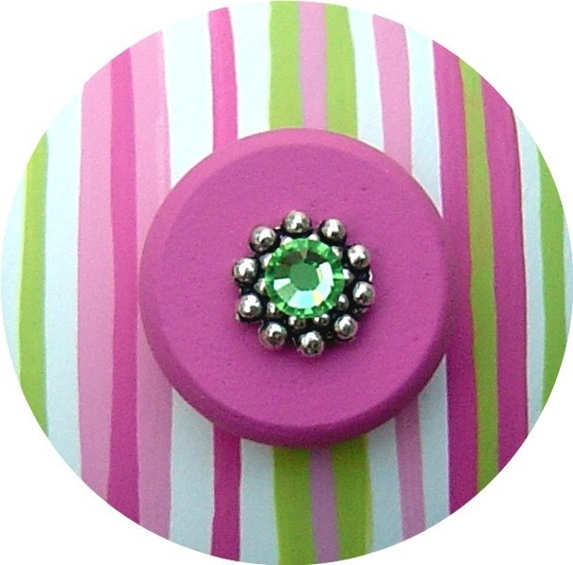 Pink & Green STRIPES Swarovski Crystal Jeweled Handpainted Wood Drawer Pull Knob. Maybe for my daughter's desk?