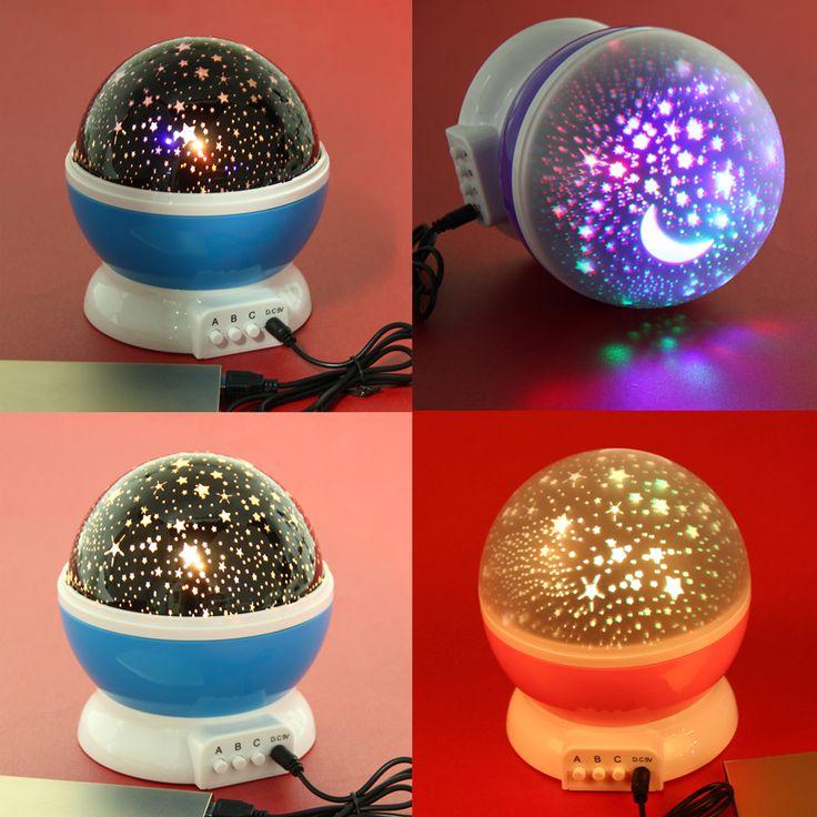 USB Wiederaufladbare DC5V 4LED Lampen Stern Rotierenden Projektionslampe Stern-mond Himmel Projektor Nachtlicht Blau/Rosa/Lila modell Licht