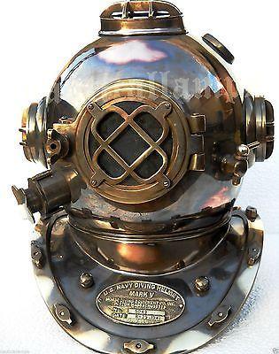 Antique U.S Navy Brass Divers Diving Helmet Mark V FULL SIZE Deep sea Scuba gift - http://scuba.megainfohouse.com/antique-u-s-navy-brass-divers-diving-helmet-mark-v-full-size-deep-sea-scuba-gift-2/