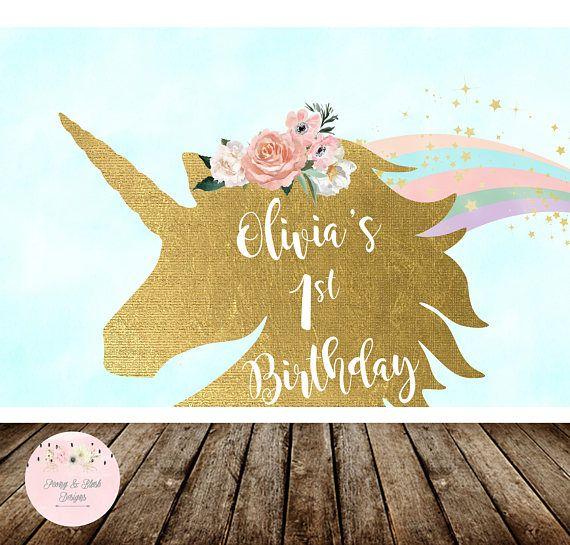 Digital Unicorn Birthday Party Backdrop, Unicorn Backdrop, Rainbow Birthday, Unicorn Baby Shower, Unicorn Party Decoration, First Birthday