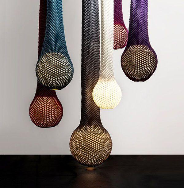 luminaires de design tricotés multicouleurs