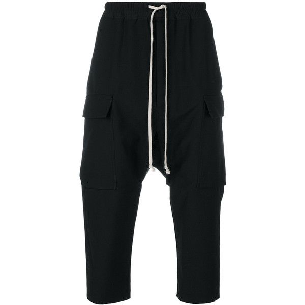 Rick Owens cropped cargo trousers (18,525 MXN) ❤ liked on Polyvore featuring men's fashion, men's clothing, men's pants, black, mens elastic waistband pants, men's relaxed fit pants, mens drawstring pants, mens elastic waist pants and mens drawstring cargo pants
