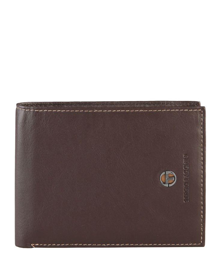 Sergio tacchini - portafoglio uomo - 100% pelle con logo - portamonete, due scomparti per banconote, porta carte di cred - Portafogli uomo k50tbrp444 Marrone