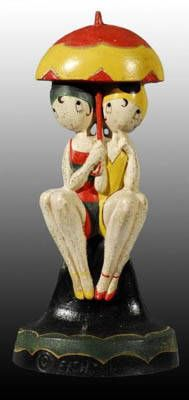 This desirable Hubley Bathing Beauties (#250) cast iron doorstop designed by Anne Fish brought in $1,300 at Morphy Auctions in April 2008.