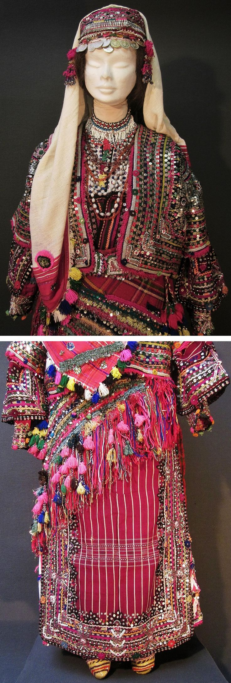 Two close-ups of a traditional festive costume from Pomak villages near Biga (Çanakkale prov.), mid-20th c.  Setting: 'nişanlı kız' (betrothed girl).  First picture: the upper half of the front; second picture: the lower part of the rear.  (Kavak Costume Collection - Antwerpen/Belgium).
