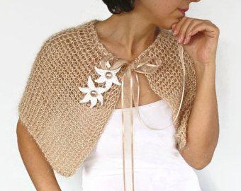 Tan nupcial del cabo invierno boda chal Nude Knit otoño Bolero polvo crudo Capelet, encogiéndose de hombros Handknit, encubrimiento, moderno de Novia de encaje chaqueta Bolero