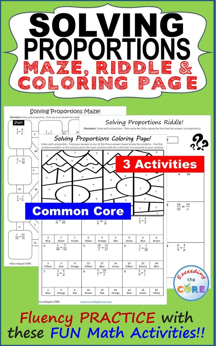 Solving Proportions Maze Riddle Color By Number Fun Activities