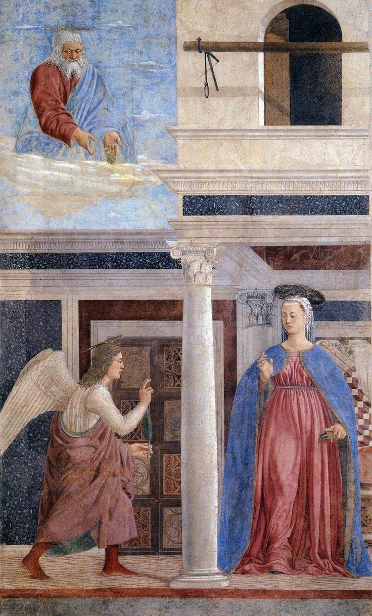 Piero della Francesca: Annunciation (1452-66) Fresco, 329 x 193 cm San Francesco, Arezzo (Aportó grandes ideas para los pintores del Renacimiento)