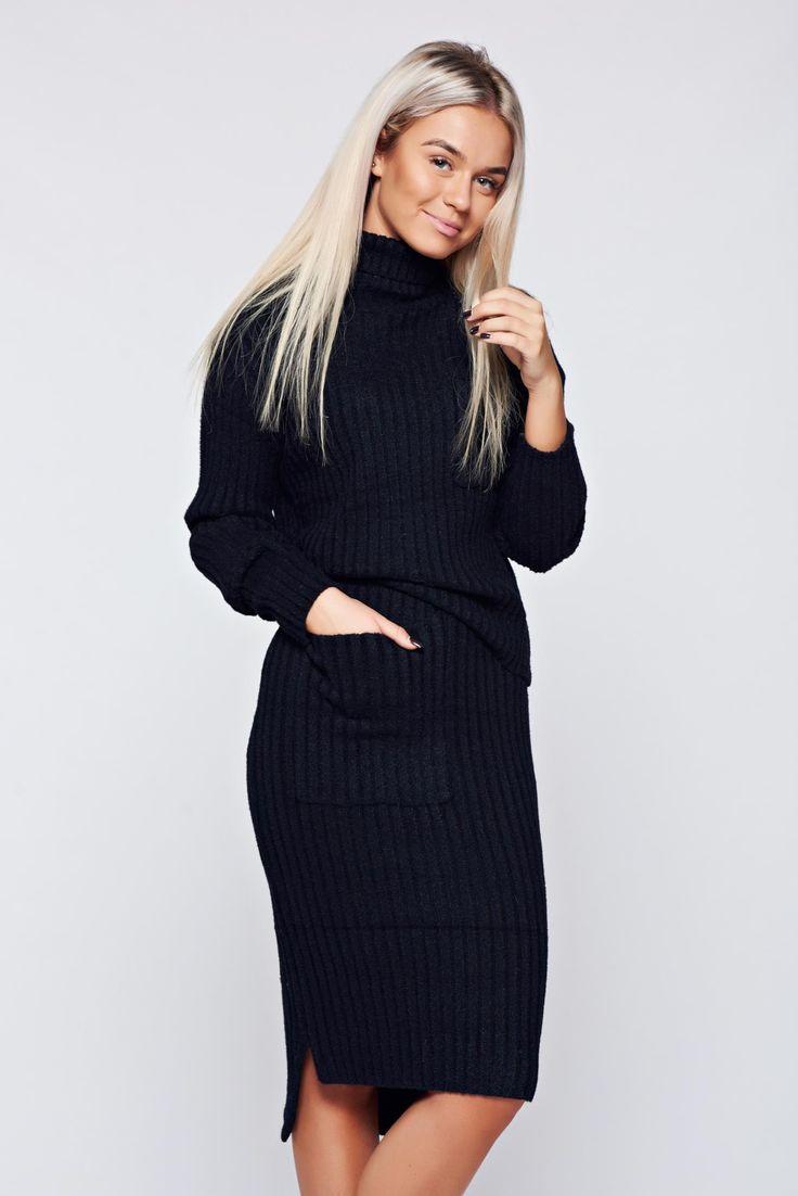 Comanda online, Set negru casual tricotat cu buzunare. Articole masurate, calitate garantata!