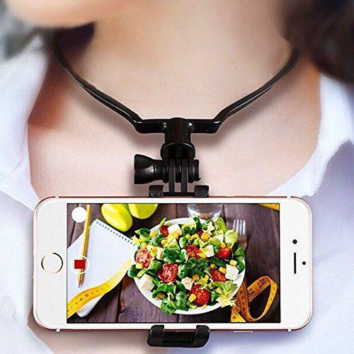 #HIOTECH Neck Phone Holder for Streaming Hanging On Neck Phone Stand for Facebook Live Selfie Stick Smartphone Holder Easily Picture Video Recording